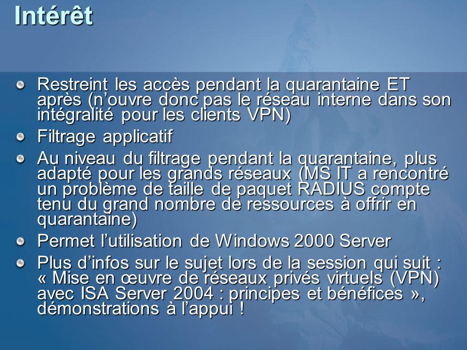 Intérêt Restreint les accès pendant la quarantaine ET après (n'ouvre donc pas le réseau interne dans son intégralité pour les clients VPN)