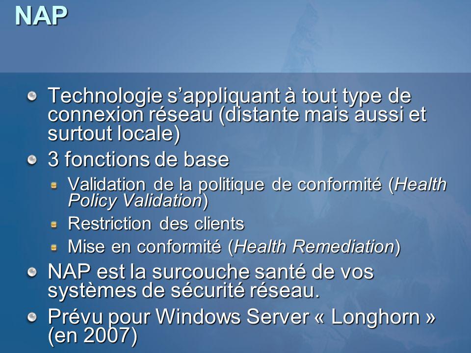 NAP Technologie s'appliquant à tout type de connexion réseau (distante mais aussi et surtout locale)