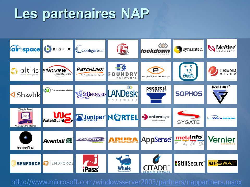 Les partenaires NAP http://www.microsoft.com/windowsserver2003/partners/nappartners.mspx