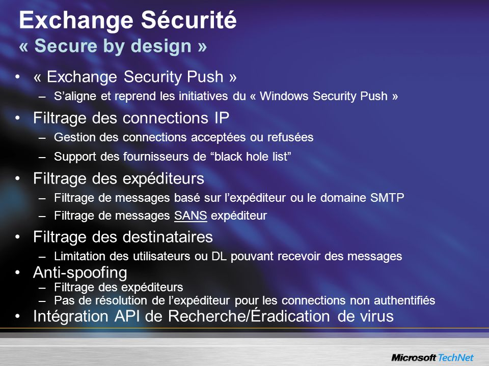 Exchange Sécurité « Secure by design »
