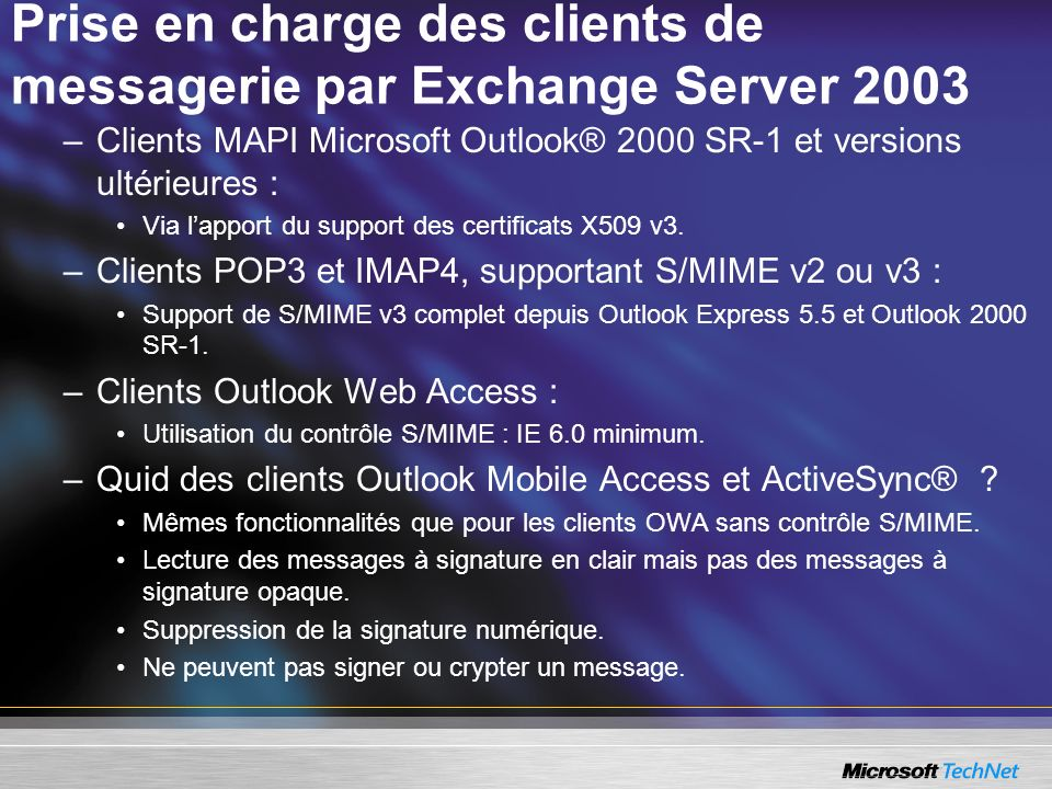 Prise en charge des clients de messagerie par Exchange Server 2003