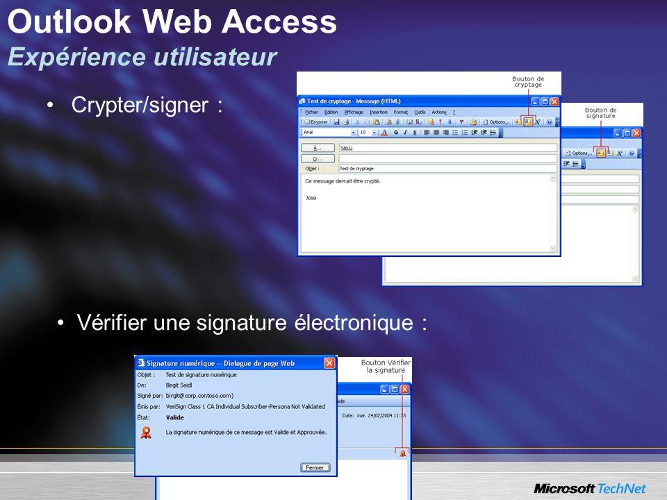 Outlook Web Access Expérience utilisateur