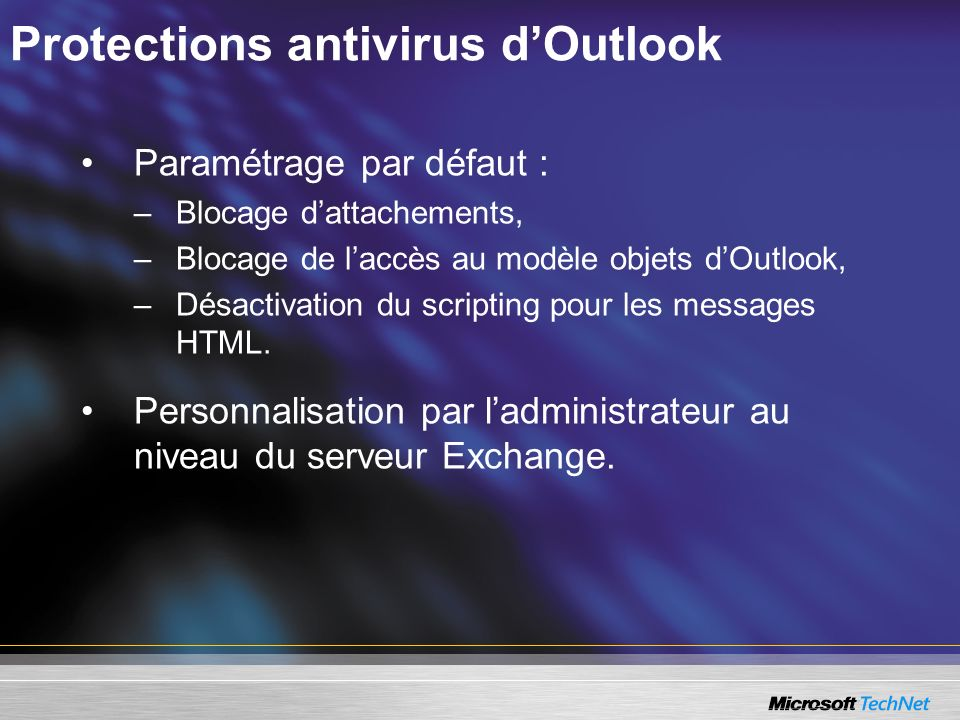 Protections antivirus d'Outlook