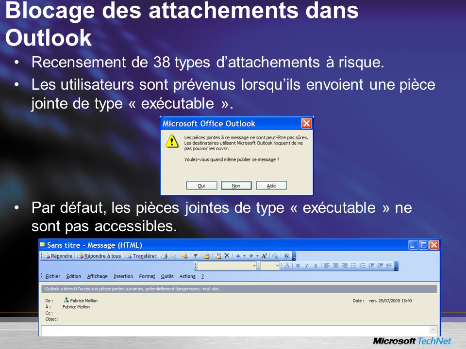Blocage des attachements dans Outlook