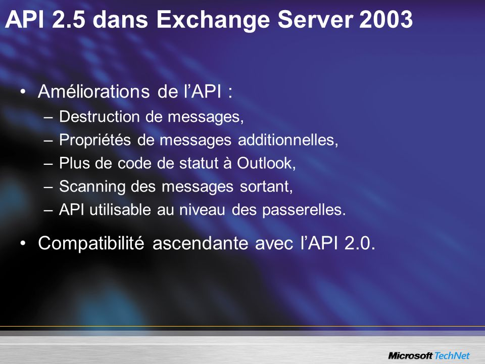 API 2.5 dans Exchange Server 2003