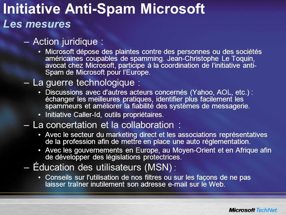 Initiative Anti-Spam Microsoft Les mesures