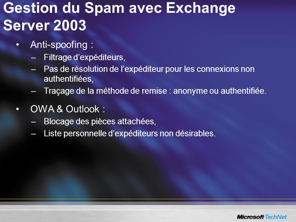 Gestion du Spam avec Exchange Server 2003