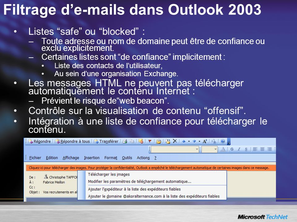 Filtrage d'e-mails dans Outlook 2003