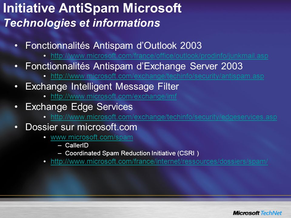Initiative AntiSpam Microsoft Technologies et informations