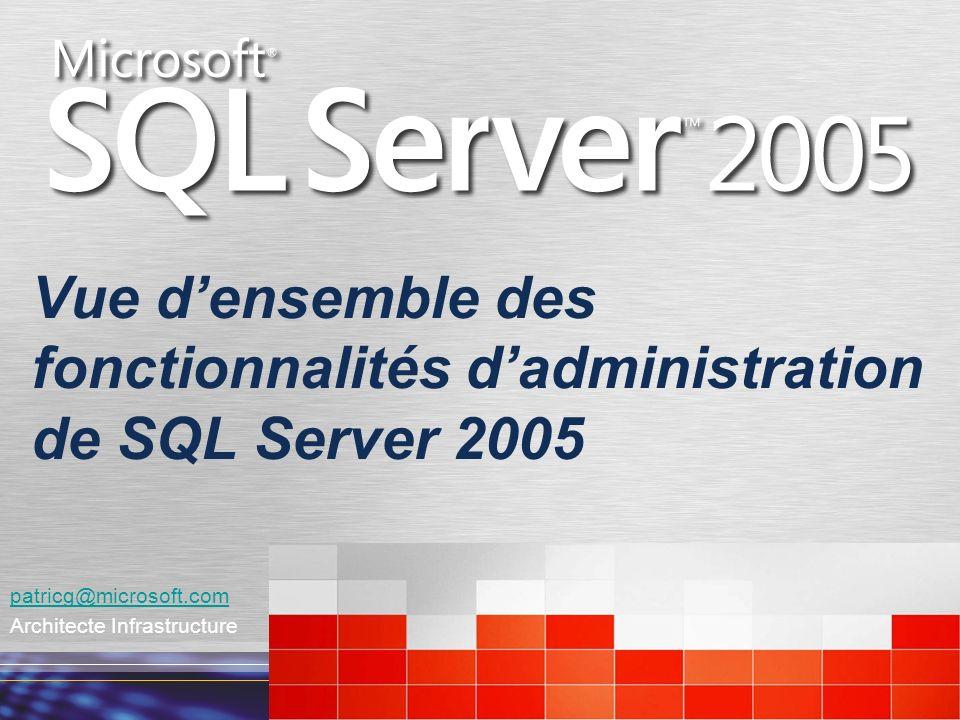 Vue d'ensemble des fonctionnalités d'administration de SQL Server 2005