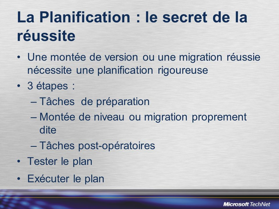 La Planification : le secret de la réussite