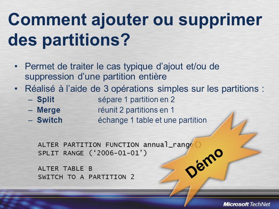 Comment ajouter ou supprimer des partitions