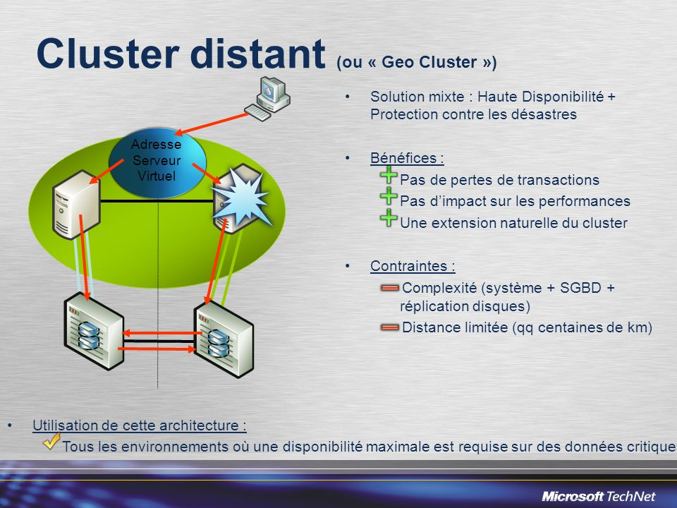 Cluster distant (ou « Geo Cluster »)