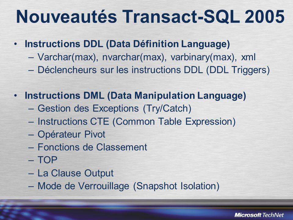 Nouveautés Transact-SQL 2005