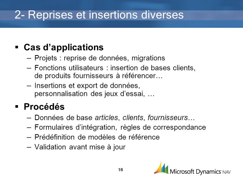 2- Reprises et insertions diverses