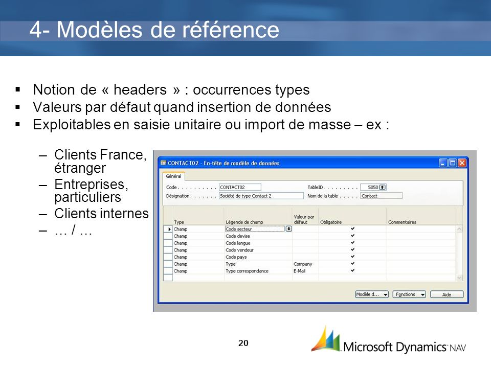 4- Modèles de référence Notion de « headers » : occurrences types
