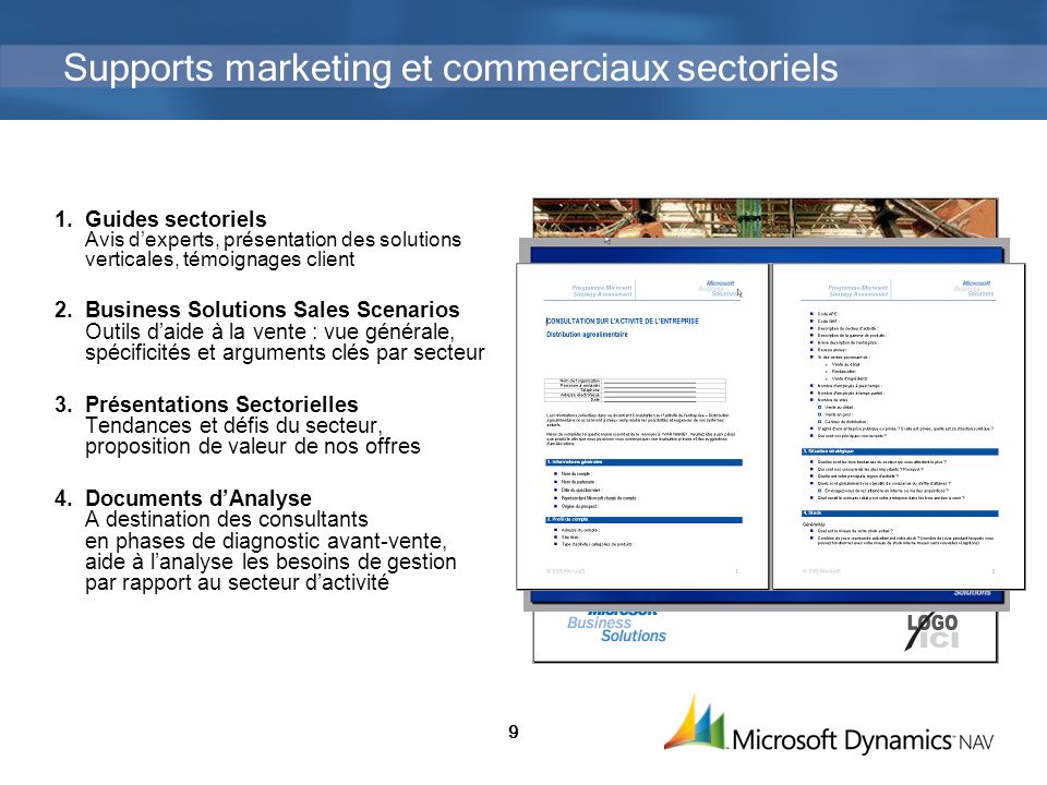 Supports marketing et commerciaux sectoriels