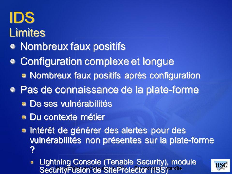 IDS Limites Nombreux faux positifs Configuration complexe et longue