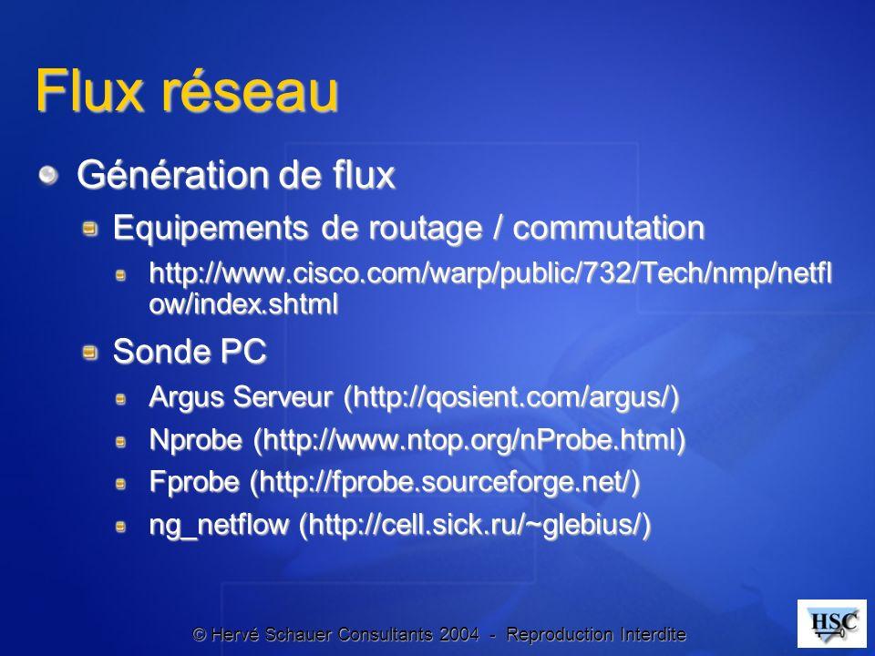 Flux réseau Génération de flux Equipements de routage / commutation