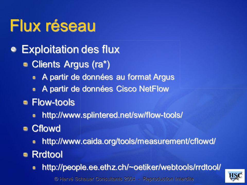 Flux réseau Exploitation des flux Clients Argus (ra*) Flow-tools