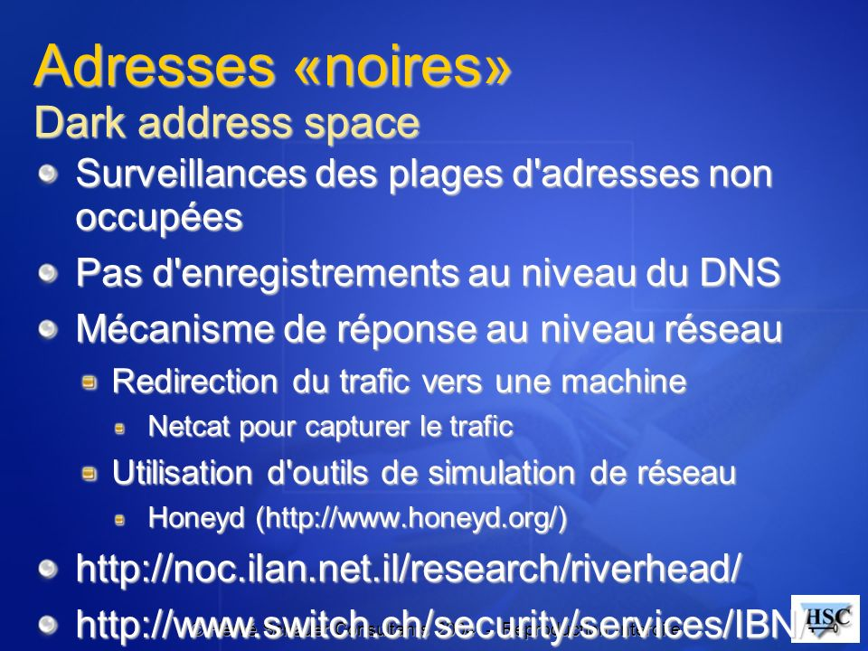 Adresses «noires» Dark address space