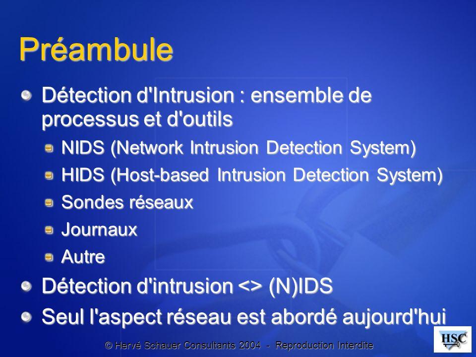 Préambule Détection d Intrusion : ensemble de processus et d outils