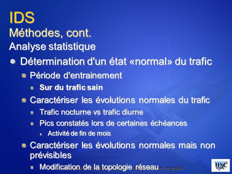 IDS Méthodes, cont. Analyse statistique