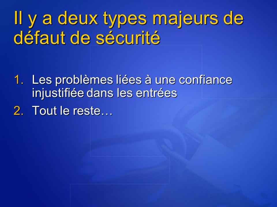 Il y a deux types majeurs de défaut de sécurité