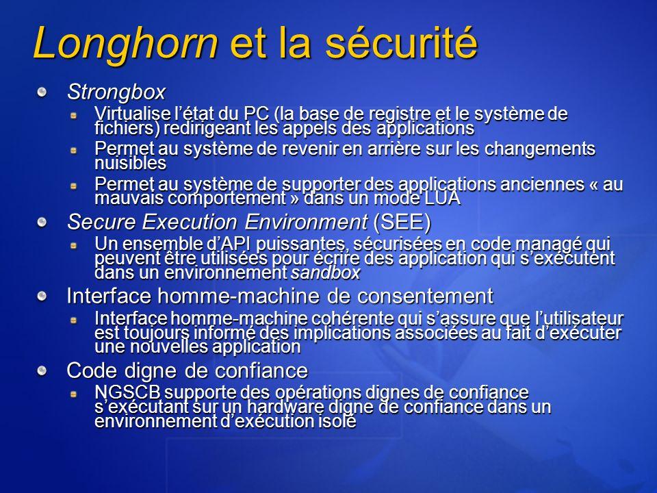 Longhorn et la sécurité