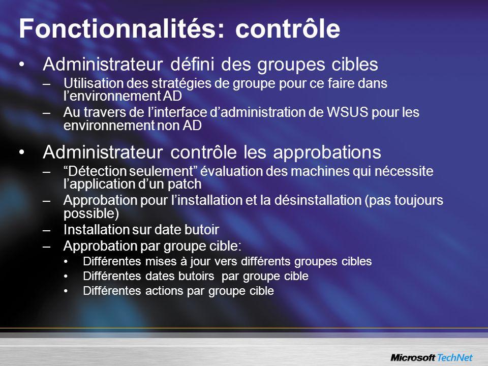 Fonctionnalités: contrôle