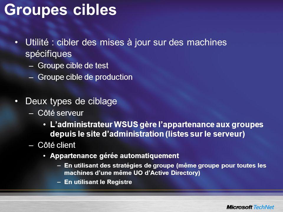 Groupes cibles Utilité : cibler des mises à jour sur des machines spécifiques. Groupe cible de test.