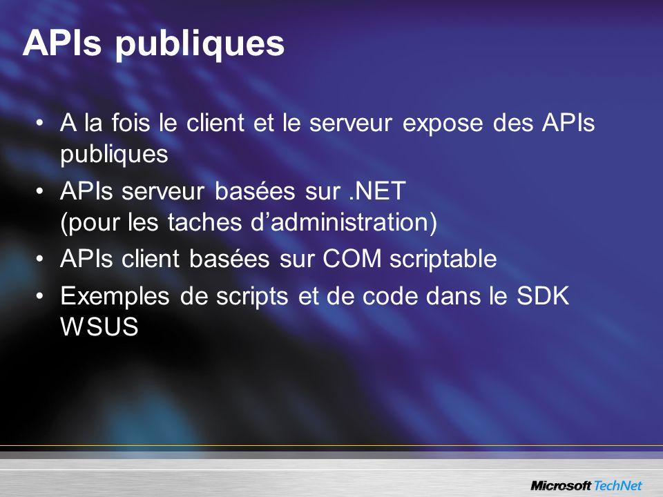 APIs publiquesA la fois le client et le serveur expose des APIs publiques. APIs serveur basées sur .NET (pour les taches d'administration)