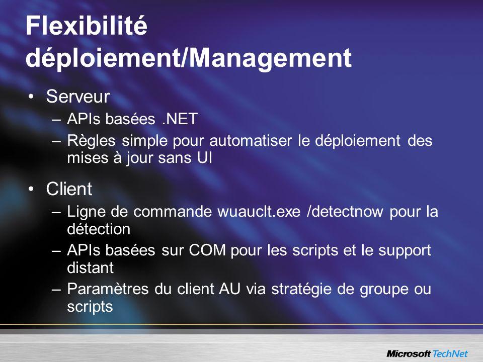 Flexibilité déploiement/Management