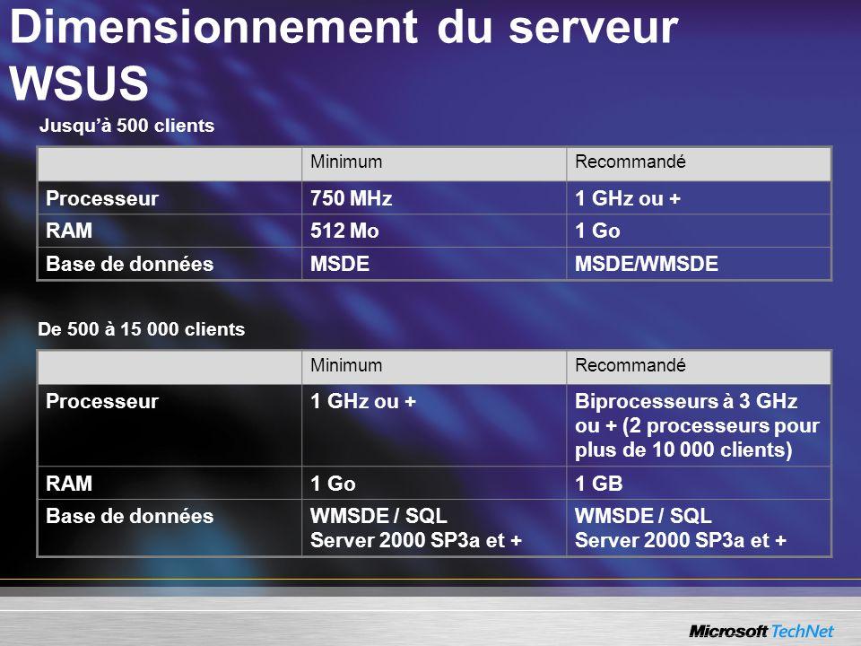 Dimensionnement du serveur WSUS