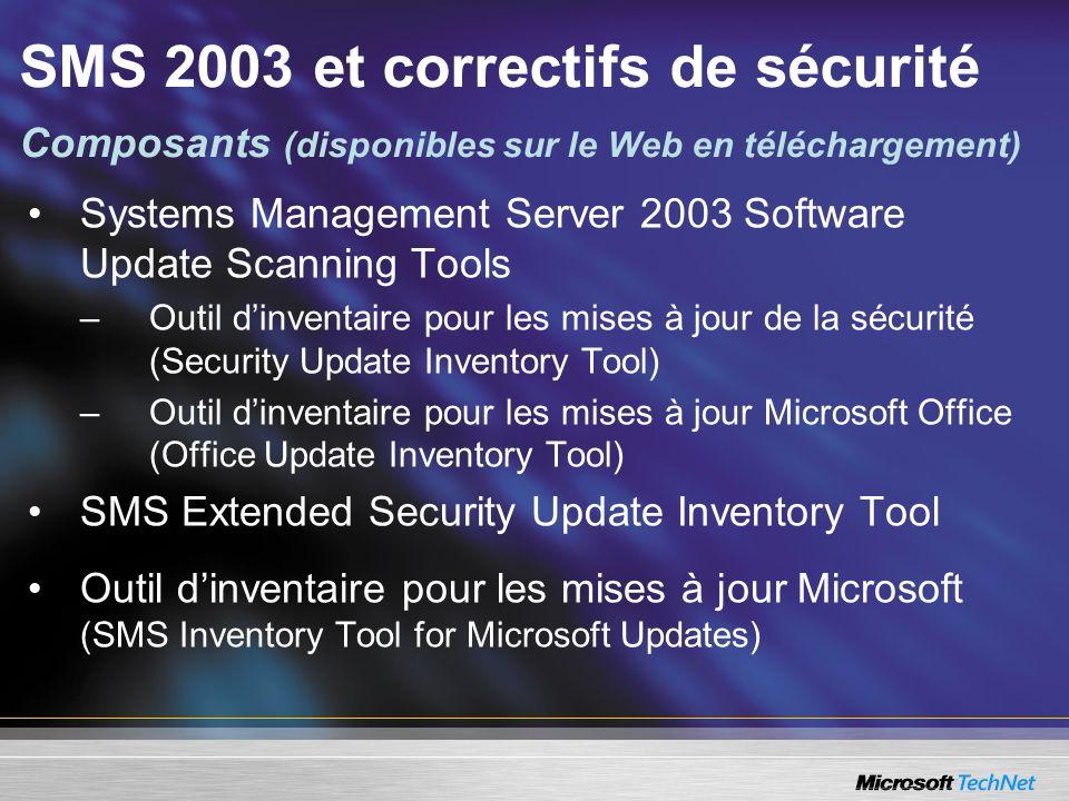 SMS 2003 et correctifs de sécurité Composants (disponibles sur le Web en téléchargement)