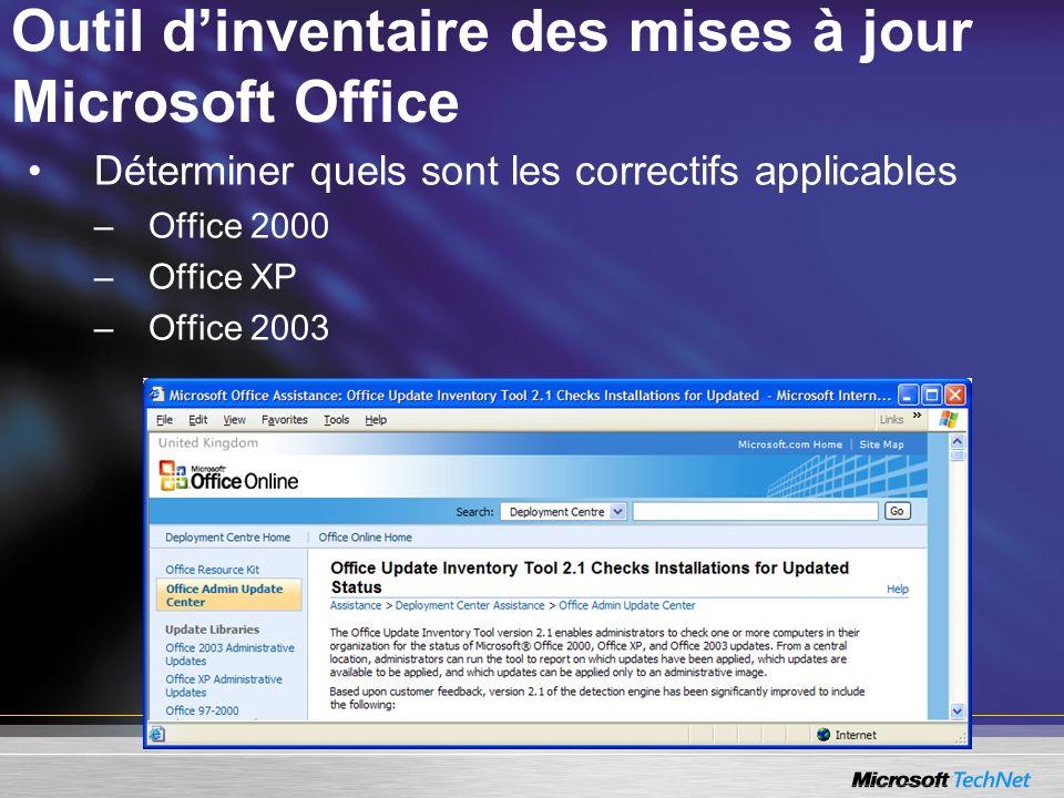 Outil d'inventaire des mises à jour Microsoft Office