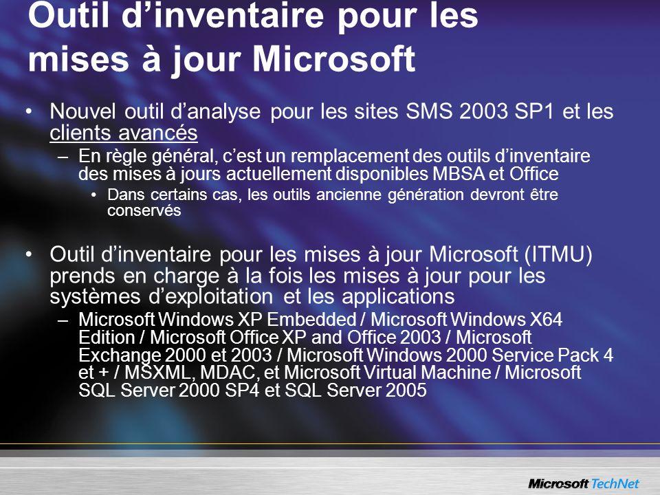Outil d'inventaire pour les mises à jour Microsoft