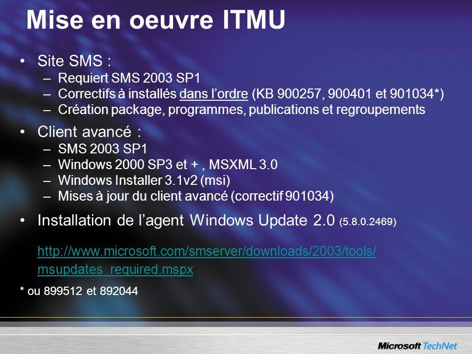 Mise en oeuvre ITMU Site SMS : Client avancé :