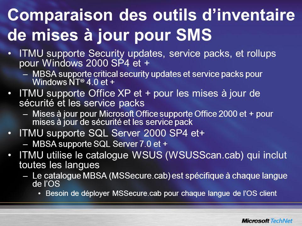 Comparaison des outils d'inventaire de mises à jour pour SMS