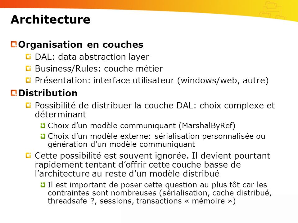 Architecture Organisation en couches Distribution