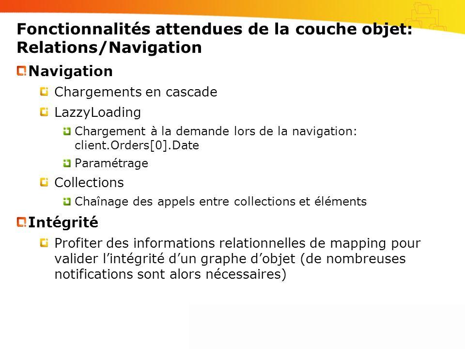 Fonctionnalités attendues de la couche objet: Relations/Navigation