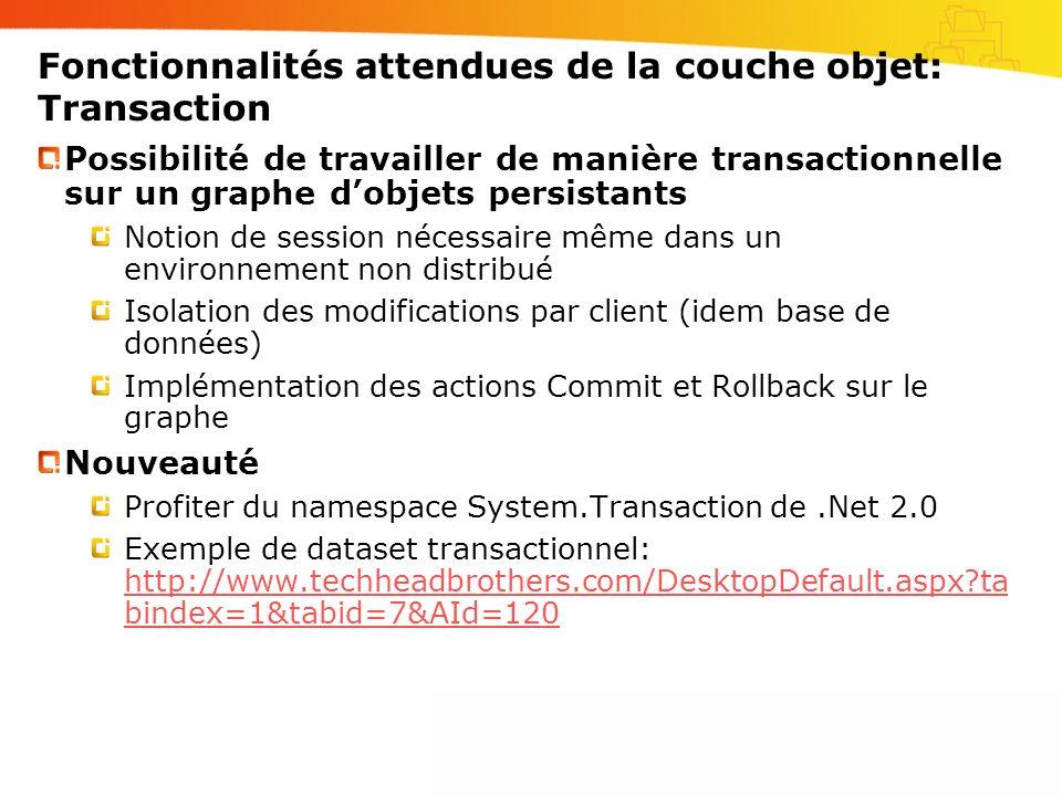 Fonctionnalités attendues de la couche objet: Transaction