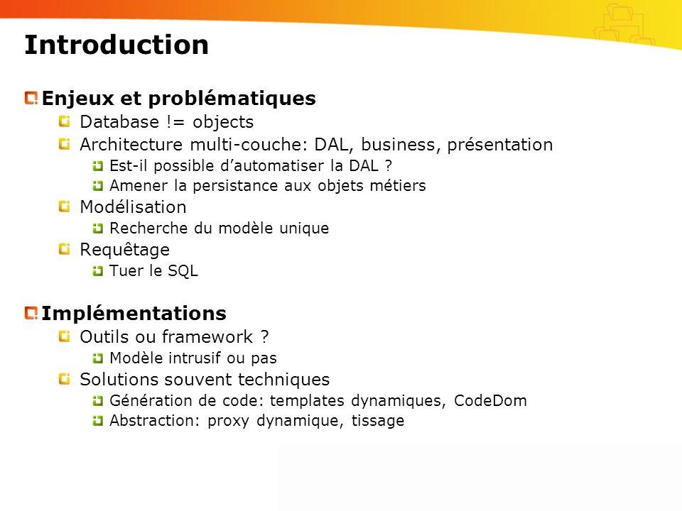 Introduction Enjeux et problématiques Implémentations