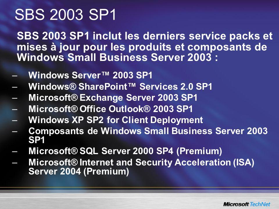 SBS 2003 SP1SBS 2003 SP1 inclut les derniers service packs et mises à jour pour les produits et composants de Windows Small Business Server 2003 :