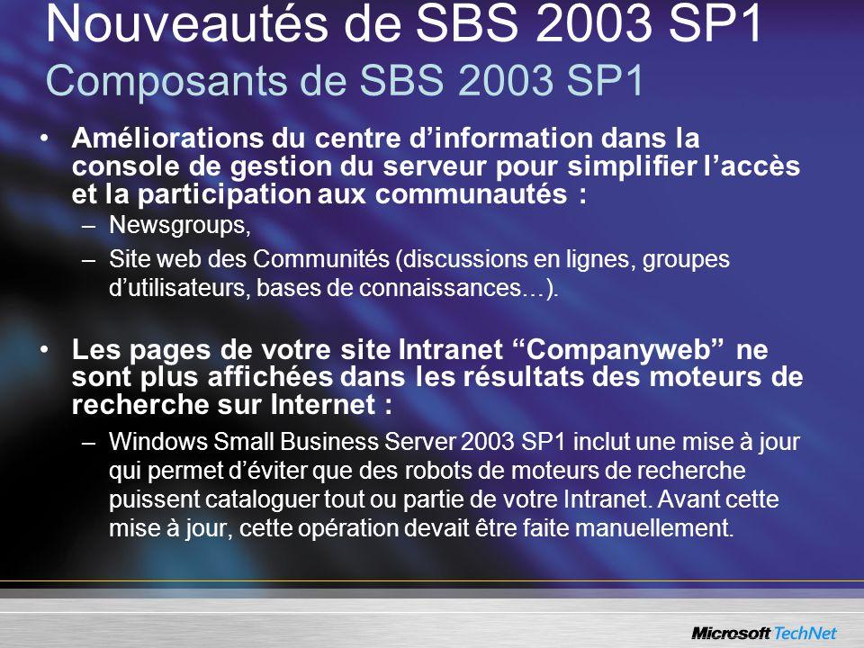 Nouveautés de SBS 2003 SP1 Composants de SBS 2003 SP1