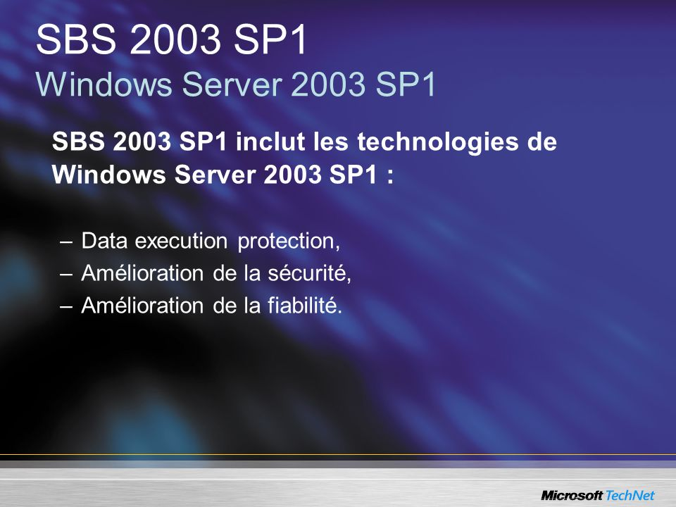 SBS 2003 SP1 Windows Server 2003 SP1