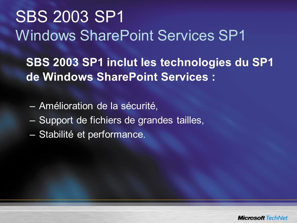 SBS 2003 SP1 Windows SharePoint Services SP1