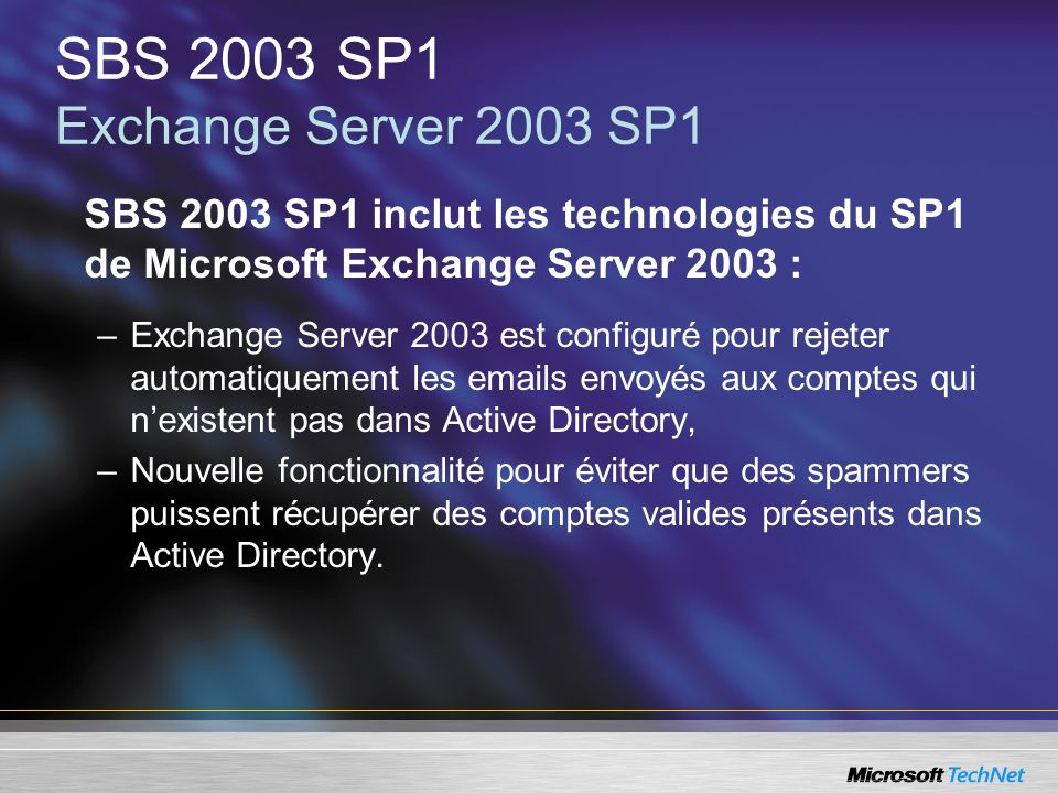 SBS 2003 SP1 Exchange Server 2003 SP1
