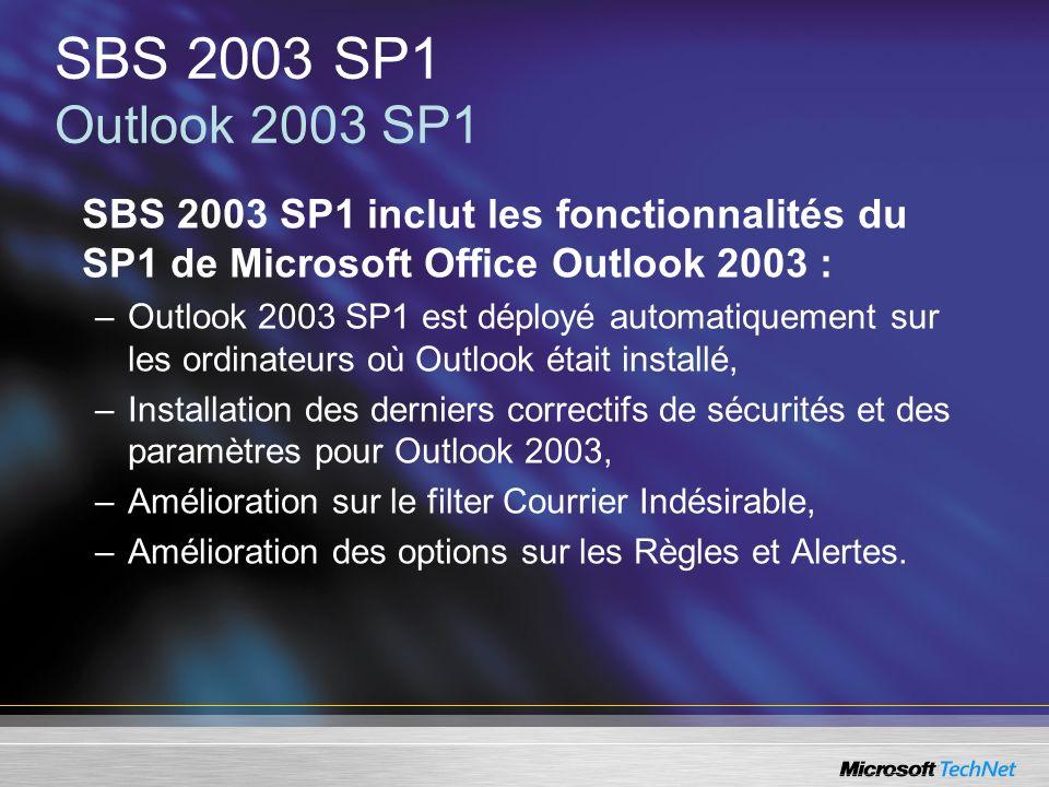 SBS 2003 SP1 Outlook 2003 SP1SBS 2003 SP1 inclut les fonctionnalités du SP1 de Microsoft Office Outlook 2003 :