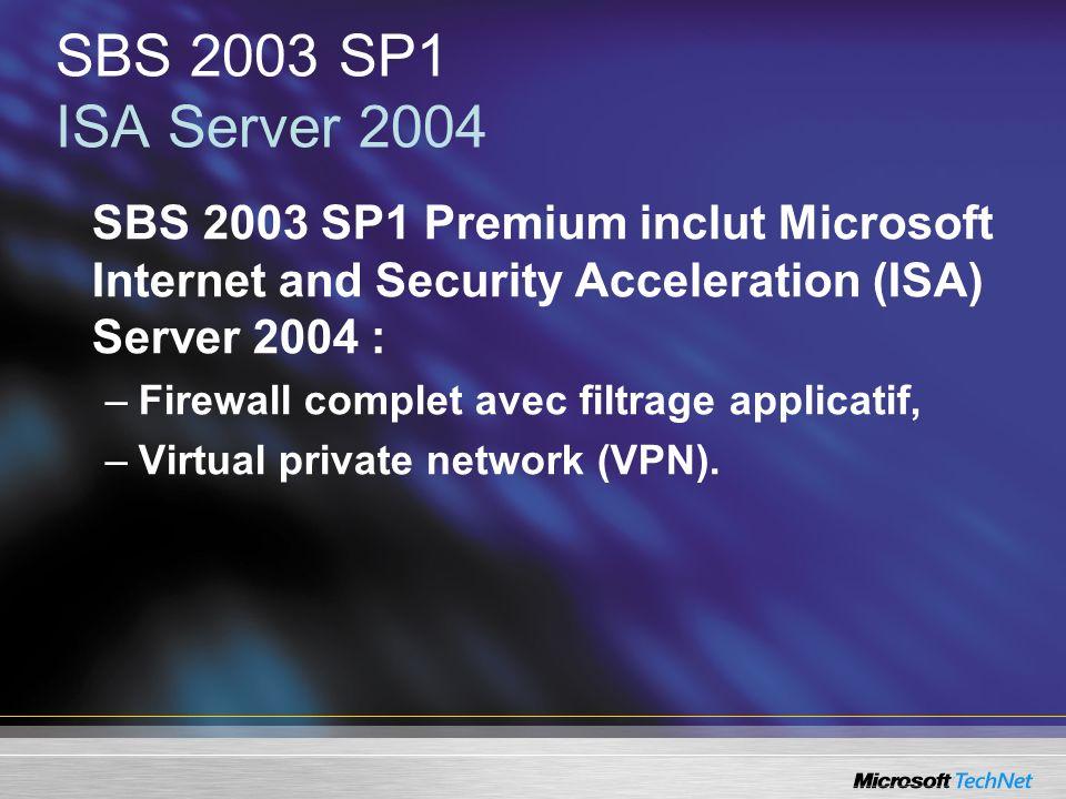 SBS 2003 SP1 ISA Server 2004SBS 2003 SP1 Premium inclut Microsoft Internet and Security Acceleration (ISA) Server 2004 :